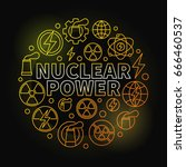 nuclear power round colorful... | Shutterstock .eps vector #666460537