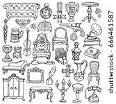 antiques doodle hand drawn set. ... | Shutterstock .eps vector #666461587