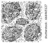 line art vector hand drawn... | Shutterstock .eps vector #666465127