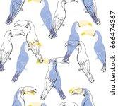 toucan pattern  vector ... | Shutterstock .eps vector #666474367