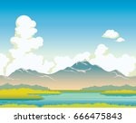calm lake with green grass ... | Shutterstock .eps vector #666475843