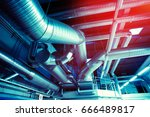 ventilation pipes and ducts of... | Shutterstock . vector #666489817