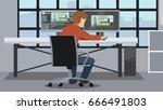 motion designer workspace.... | Shutterstock .eps vector #666491803