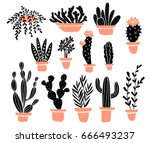 vector set of tropical house ... | Shutterstock .eps vector #666493237