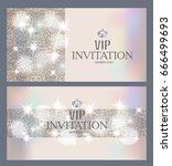 vip invitation sparkling luxury ... | Shutterstock .eps vector #666499693
