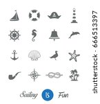 nautical sailing icon collection | Shutterstock .eps vector #666513397