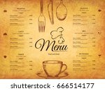 restaurant menu design. vector... | Shutterstock .eps vector #666514177