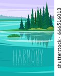 wild nature with lake and... | Shutterstock .eps vector #666516013