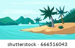tropical beach. island with... | Shutterstock .eps vector #666516043