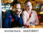sad couple having conflict and... | Shutterstock . vector #666528847