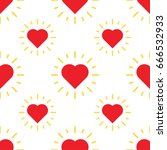 love hearts pattern with ray.... | Shutterstock .eps vector #666532933