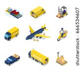 isometric delivery concept. air ... | Shutterstock .eps vector #666534607