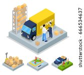 isometric delivery concept with ... | Shutterstock .eps vector #666534637