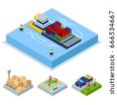 isometric delivery concept.... | Shutterstock .eps vector #666534667