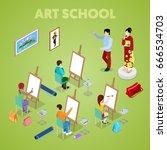 isometric art concept. class... | Shutterstock .eps vector #666534703
