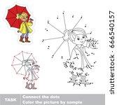 umbrella autumn girl. dot to... | Shutterstock .eps vector #666540157