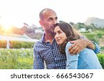 loving man and happy woman in a ... | Shutterstock . vector #666543067