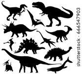 dinosaur silhouettes set.... | Shutterstock .eps vector #666547903