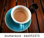 top view of coffee cup   Shutterstock . vector #666552373