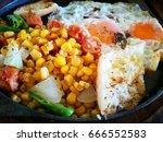 breakfast  closeup panned egg ...   Shutterstock . vector #666552583