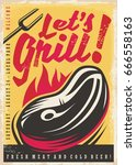 let's grill retro poster design ... | Shutterstock .eps vector #666558163
