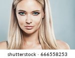 beautiful blonde woman with... | Shutterstock . vector #666558253