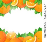 vector fruit frame of ripe... | Shutterstock .eps vector #666567757