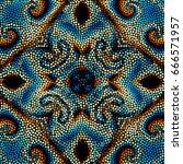 seamless background. mosaic art ... | Shutterstock .eps vector #666571957