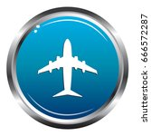 airplane blue icon | Shutterstock .eps vector #666572287