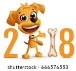 yellow happy dog symbol 2018... | Shutterstock .eps vector #666576553