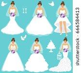 bride. wedding set. collection. ... | Shutterstock .eps vector #666584413