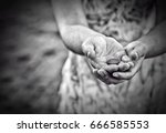 Small photo of Poverty concept. Poor woman begging for money, closeup