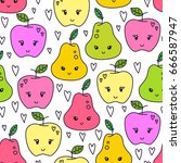 cute hand drawn pear and apple... | Shutterstock .eps vector #666587947