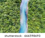 aerial view of blue mountain... | Shutterstock . vector #666598693