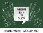 welcome back to school. sketchy ... | Shutterstock .eps vector #666604507