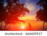 silhouette man and bike... | Shutterstock . vector #666605917