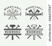 set of vintage carpentry ... | Shutterstock .eps vector #666610567