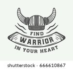 vintage viking helm with... | Shutterstock .eps vector #666610867