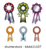 a set of rosettes for victories ... | Shutterstock .eps vector #666611107
