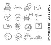 set of taxi related vector line ... | Shutterstock .eps vector #666631933