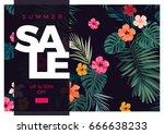 tropical vector sale design... | Shutterstock .eps vector #666638233