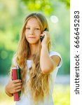 beautiful young girl student... | Shutterstock . vector #666645283
