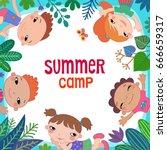 summer poster kids children on...   Shutterstock .eps vector #666659317