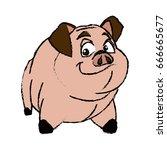cute pig animal farm domestic... | Shutterstock .eps vector #666665677