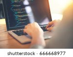 closeup coding on screen  woman ... | Shutterstock . vector #666668977