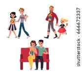 people go to cinema  movie... | Shutterstock .eps vector #666672337
