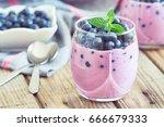 blueberry yogurt served with...   Shutterstock . vector #666679333