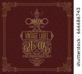 old vintage card with floral... | Shutterstock .eps vector #666686743