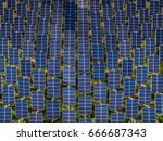 aerial view of solar panels ... | Shutterstock . vector #666687343