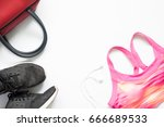 creative flat lay of sport and... | Shutterstock . vector #666689533